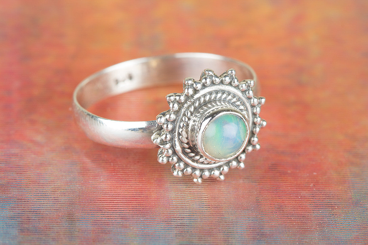 Awesome Handmade Ethiopian Opal Gemstone 925 Silver Ring