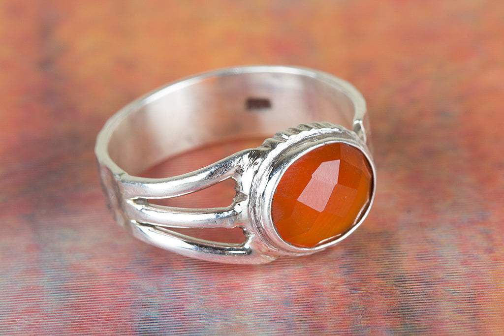 Handmade Faceted Carnelian Gemstone 925 Silver Ring