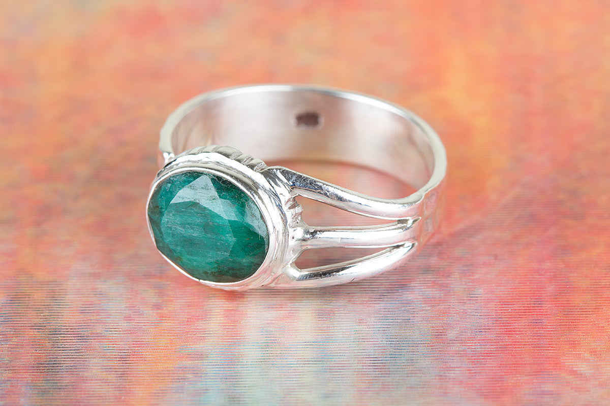 Awesome Handmade Emerald Gemstone 925 Silver Ring