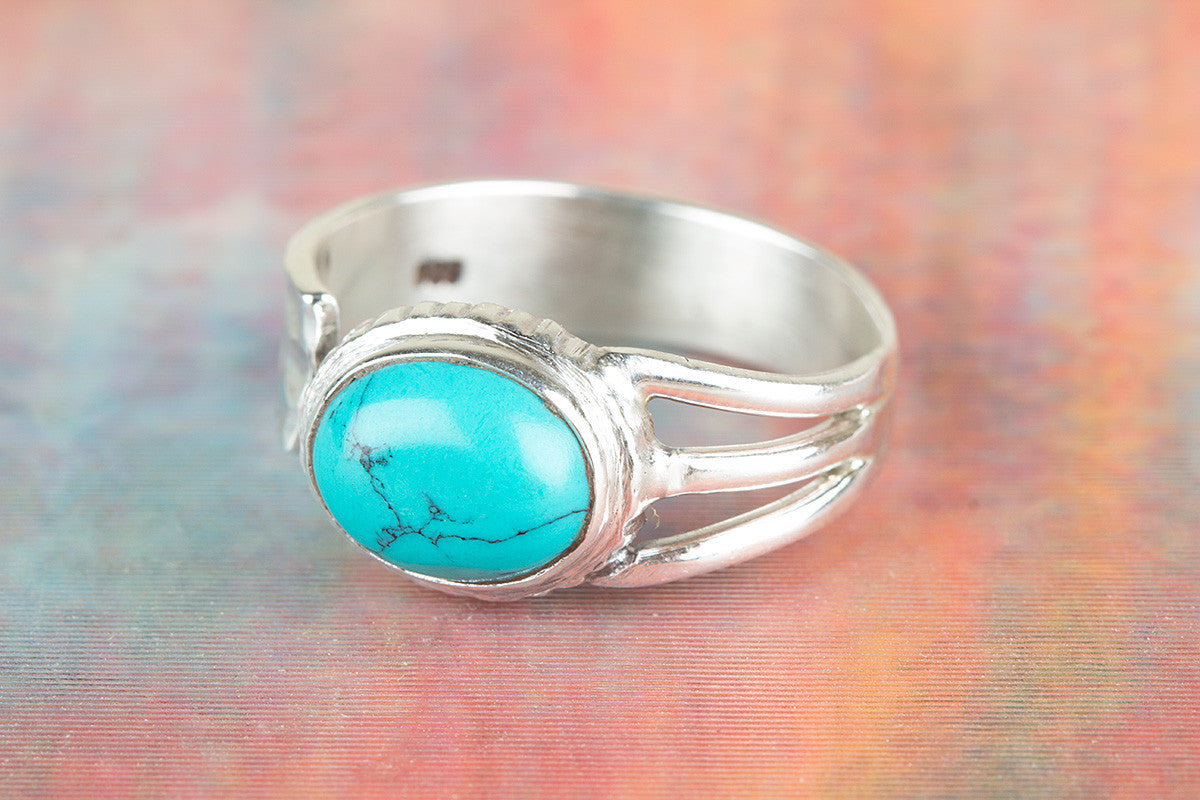 Natural Handmade Turquoise Gemstone 925 Silver Ring