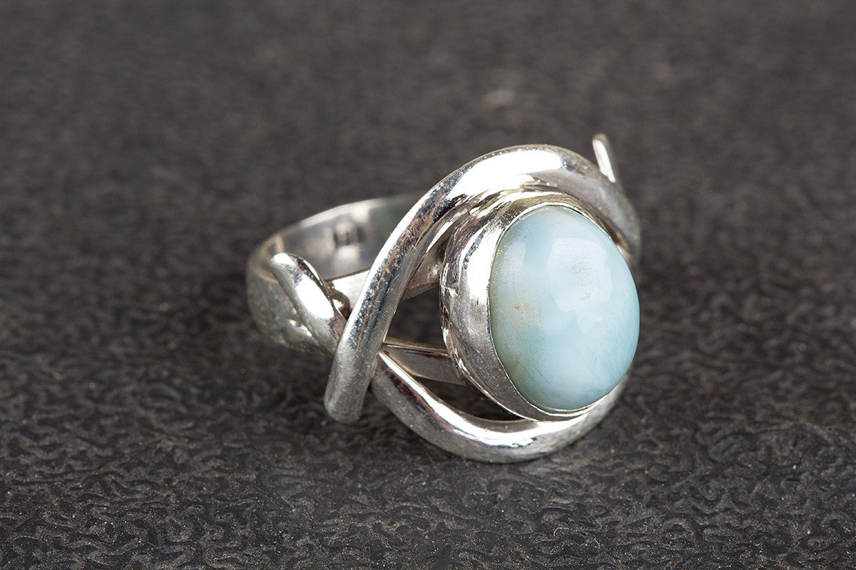 Larimar Ring, Sterling Silver Ring, Sky Blue Stone, Handmade Ring, March Birthstone Ring, Silver Larimar Ring, Bohemian Ring, Promise Ring,