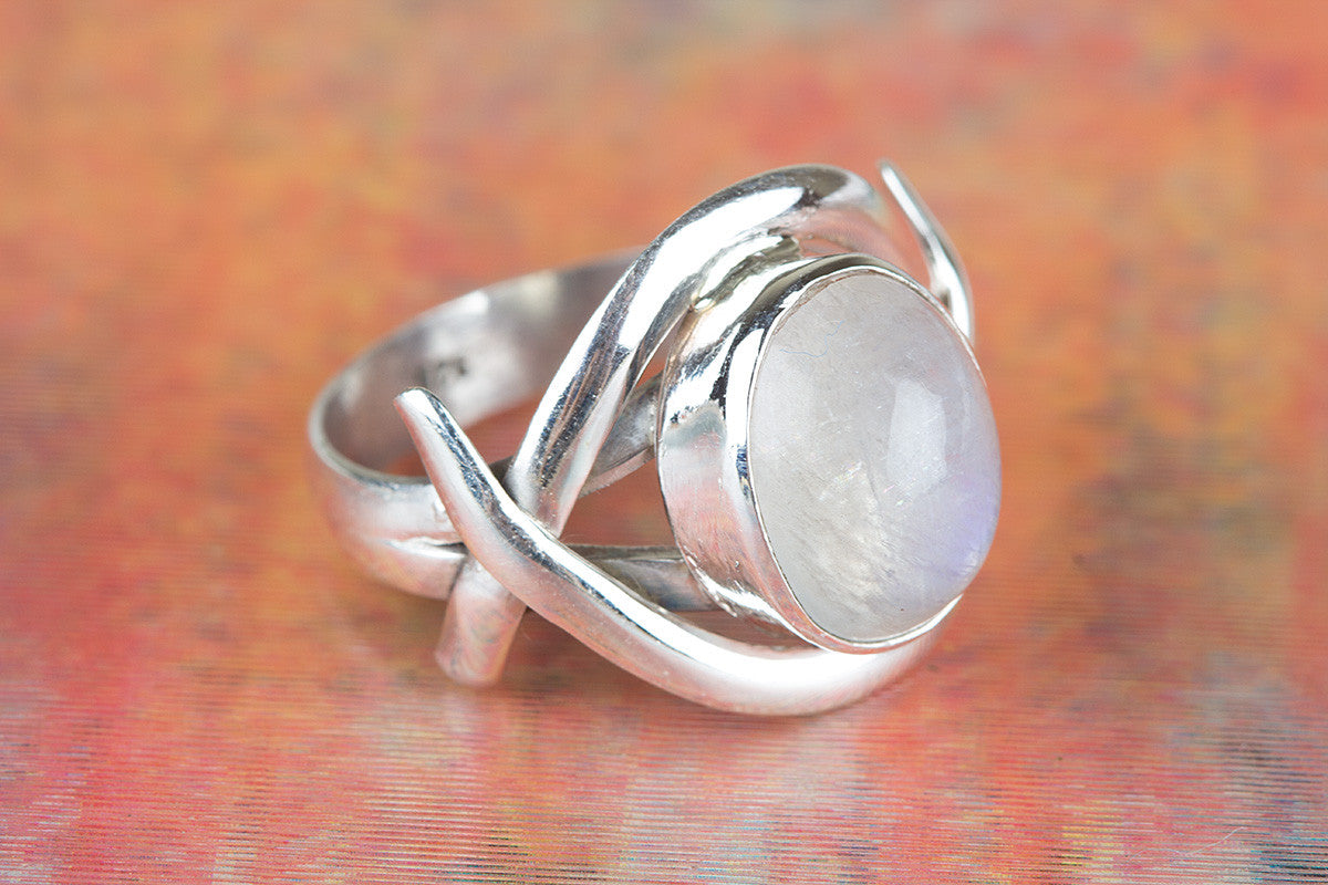 925 Rainbow Moonstone Gemstone Silver Ring