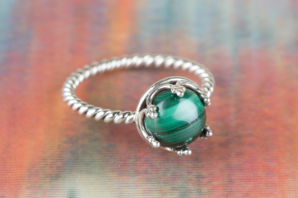 925 Malachite Gemstone Silver Ring