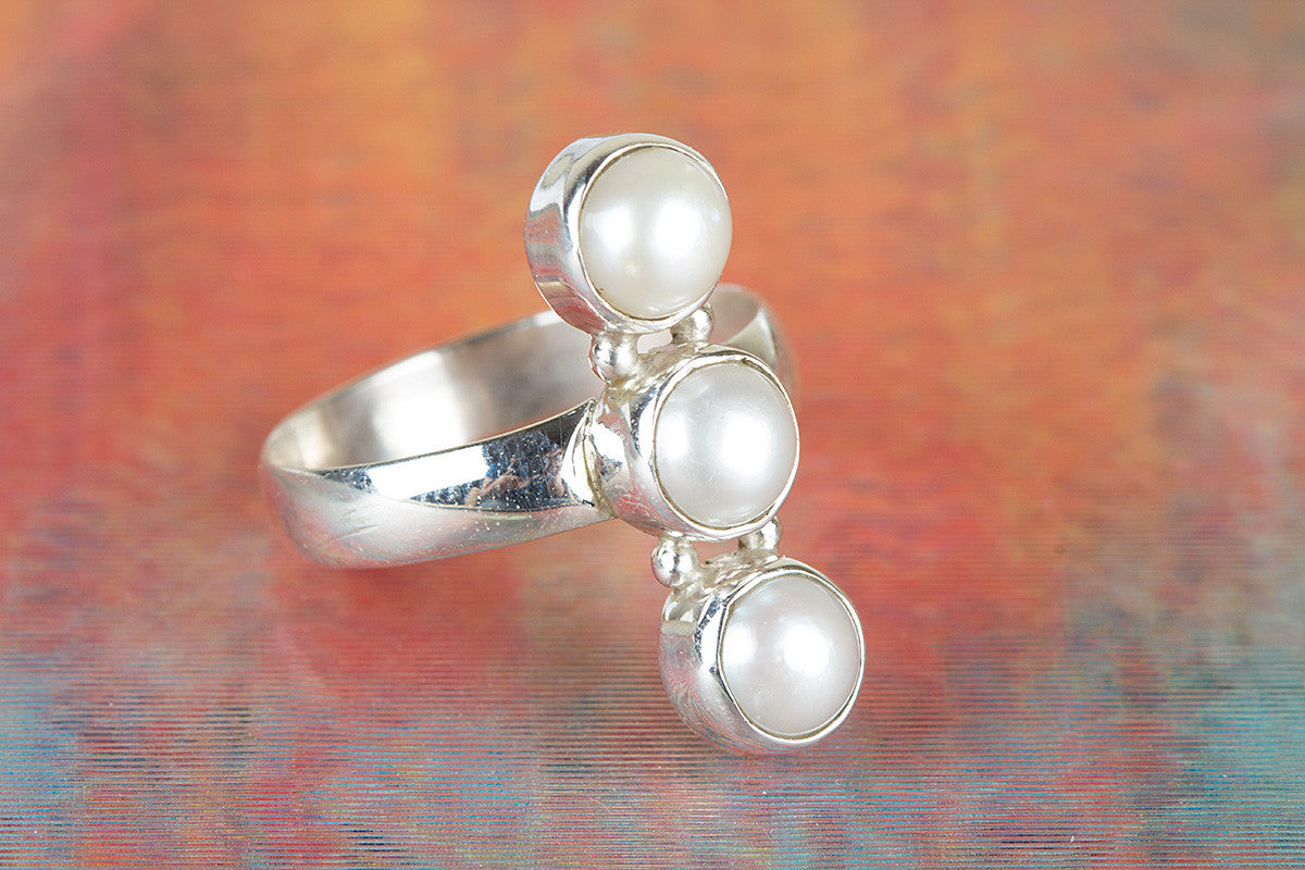925 Pearl Gemstone Silver Ring