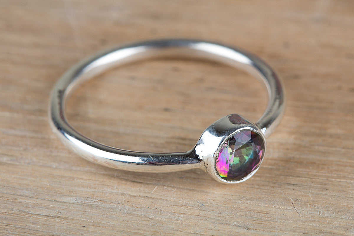 Mystic Topaz Gemstone 925 Silver Ring