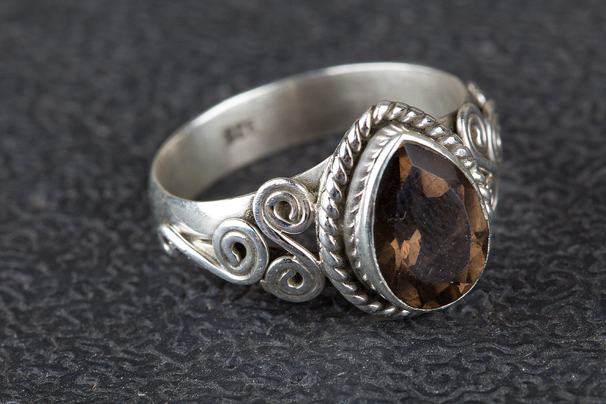 Faceted Smoky Quartz Gemstone 925 Silver Ring