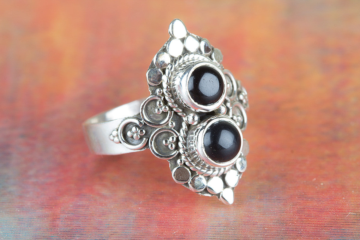 Beautiful Black Onyx Gemstone 925 Silver Ring