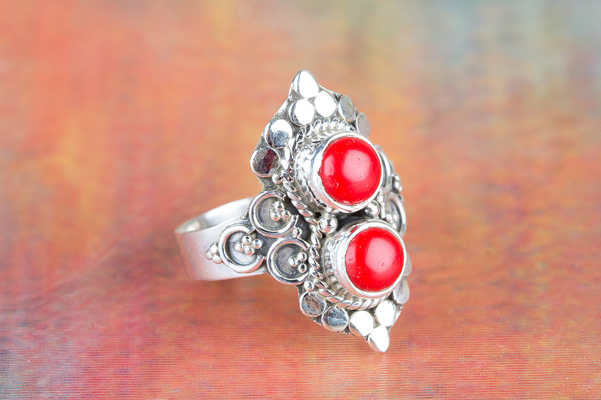 Amazing Coral Gemstone 925 Silver Ring