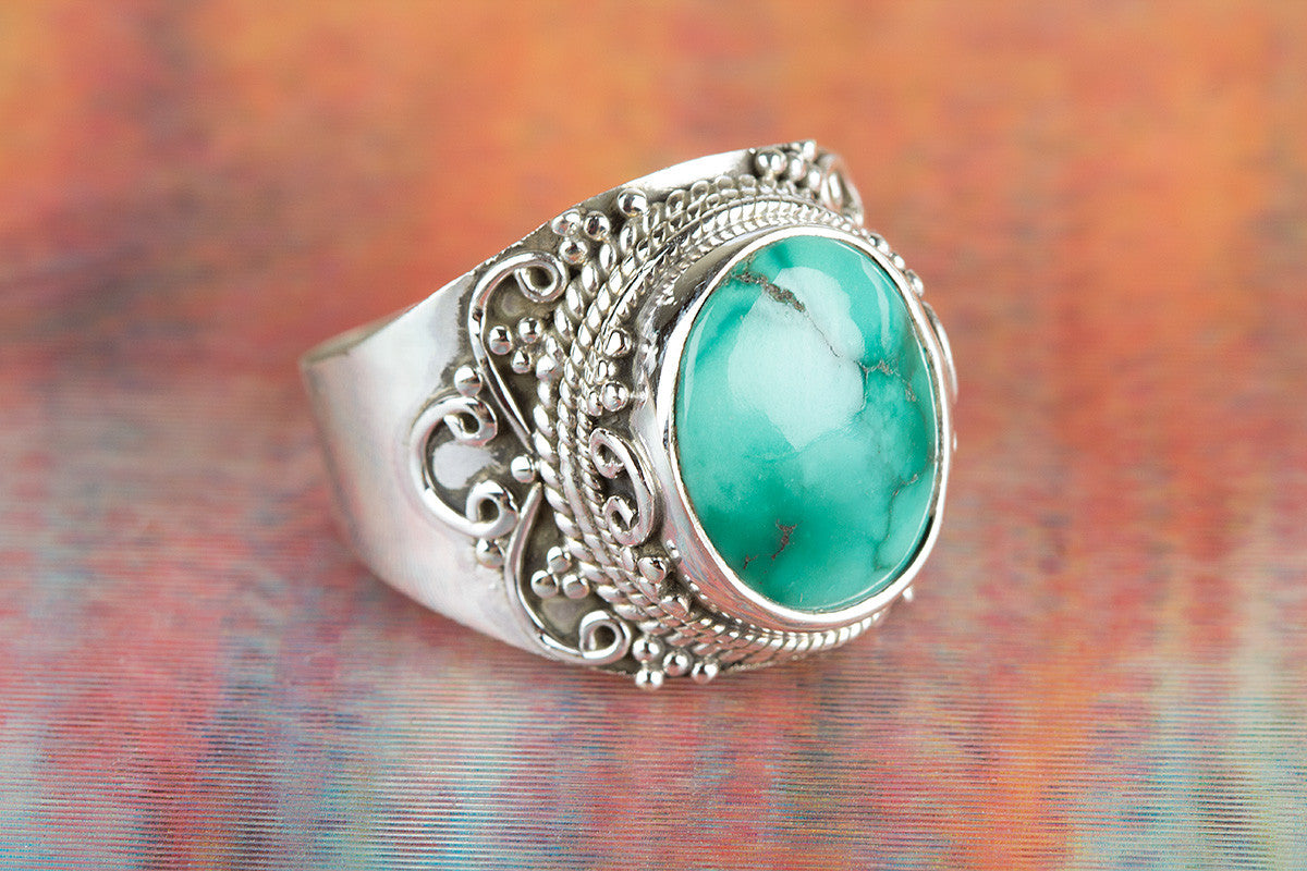 Natural Turquoise  Gemstone 925 Silver Ring