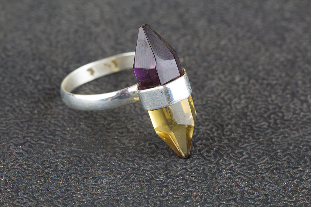 Pencil Shape Ametrine Lab Gemstone 925 Silver Ring