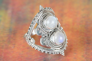 Rainbow Moonstone Ring, 925 Sterling Silver Ring, Gift For Everyone, Round Shape Stone, White Stone Ring, Bridesmaid Ring, Gypsy Style Ring, June Birthstone, Mermaid Gift