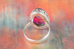 Face Shape Pink Chalcedony Lab Gemstone 925 Silver Ring