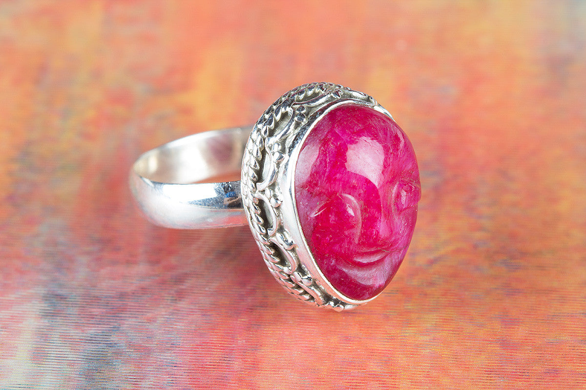 Face Shape Ruby Gemstone 925 Silver Ring
