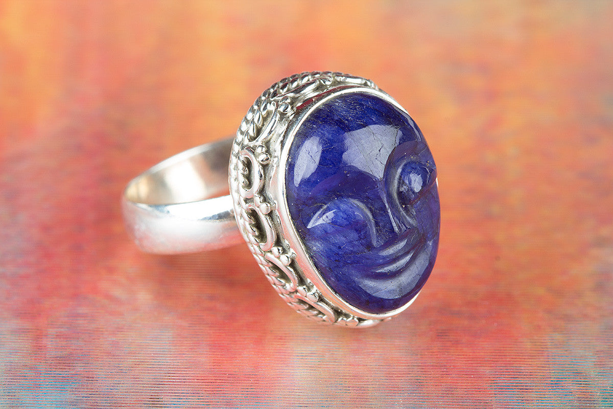 Face Shape Sapphire Gemstone 925 Silver Ring