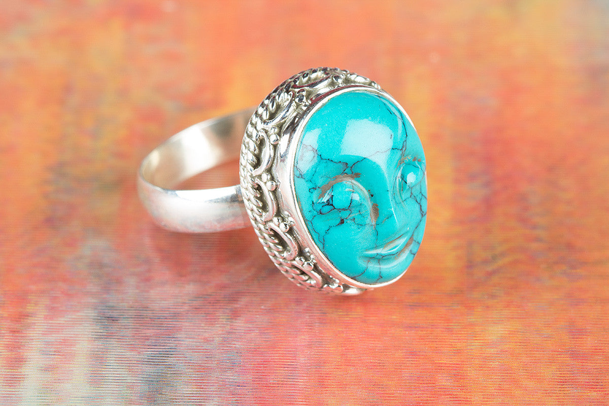 Face Shape Turquoise Gemstone 925 Silver Ring