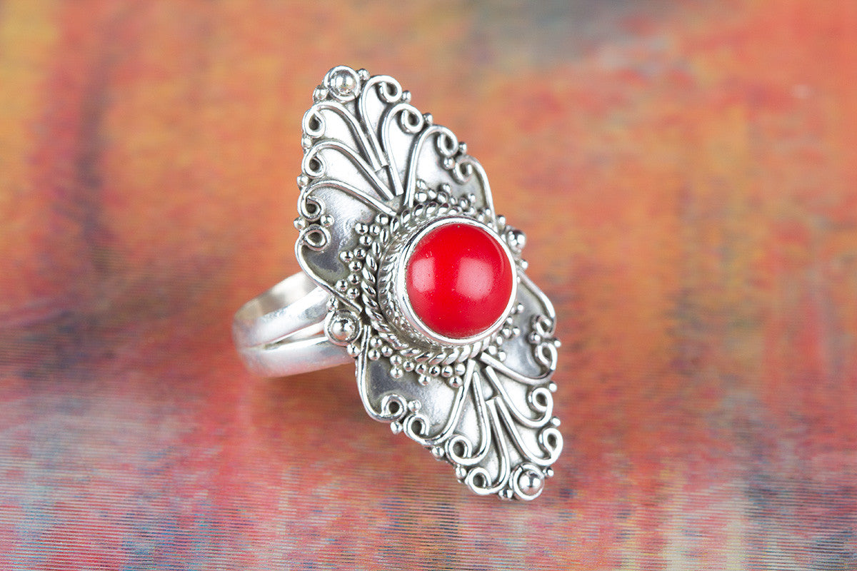 Long Shape Coral Gemstone 925 Silver Ring