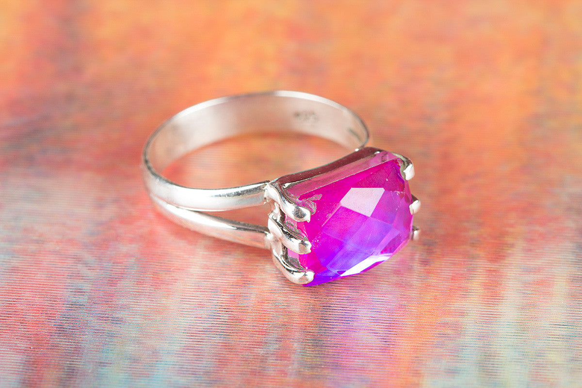 Faceted Pink Chalcedony Gemstone 925 Silver Ring