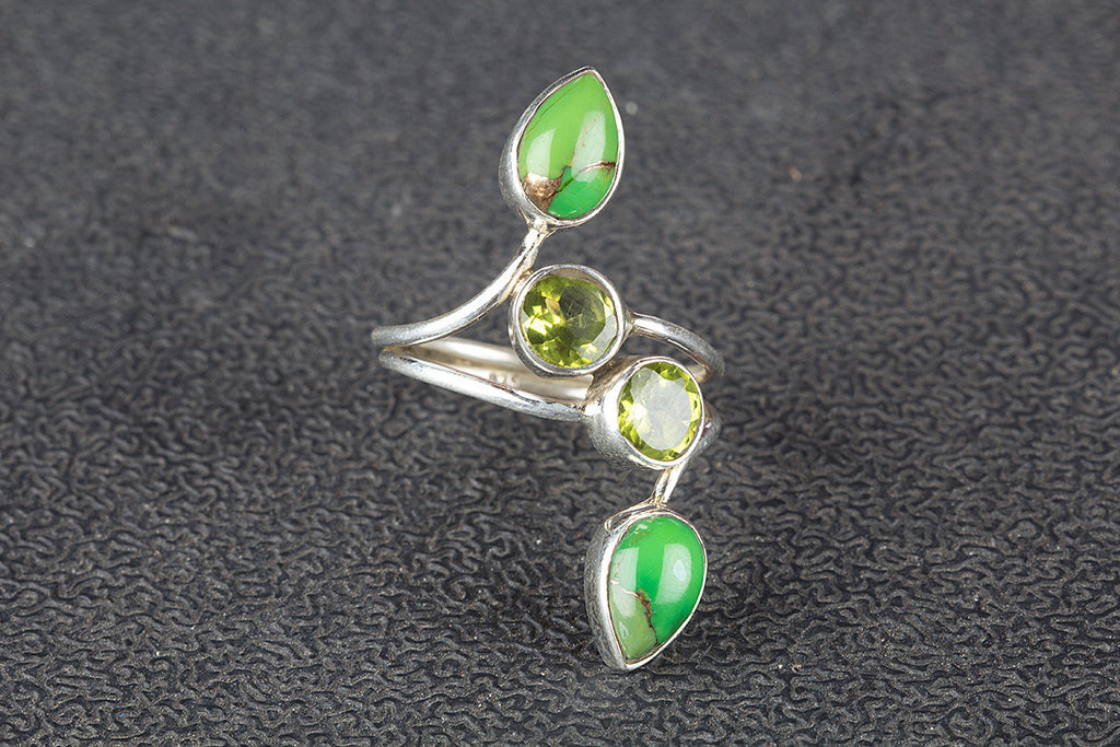 Green Turquoise & Peridot Gemstone 925 Silver Ring