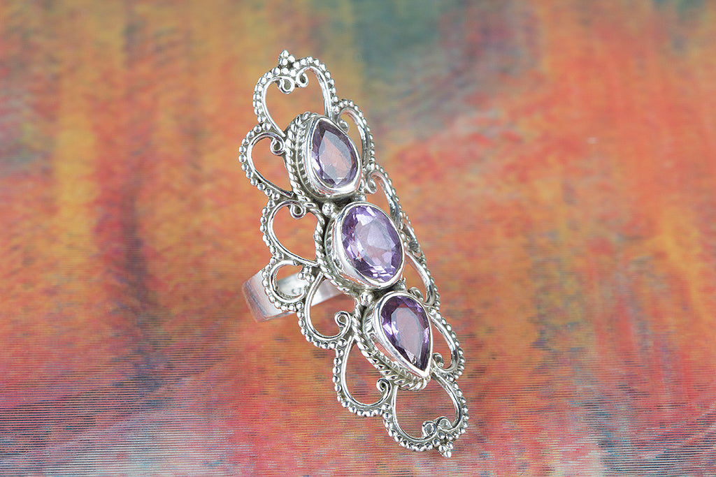 Faceted Amethyst Gemstone 925 Silver Ring
