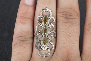Facted Citrine Gemstone 925 Silver Ring