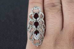 Garnet cab Gemstone 925 Silver Ring