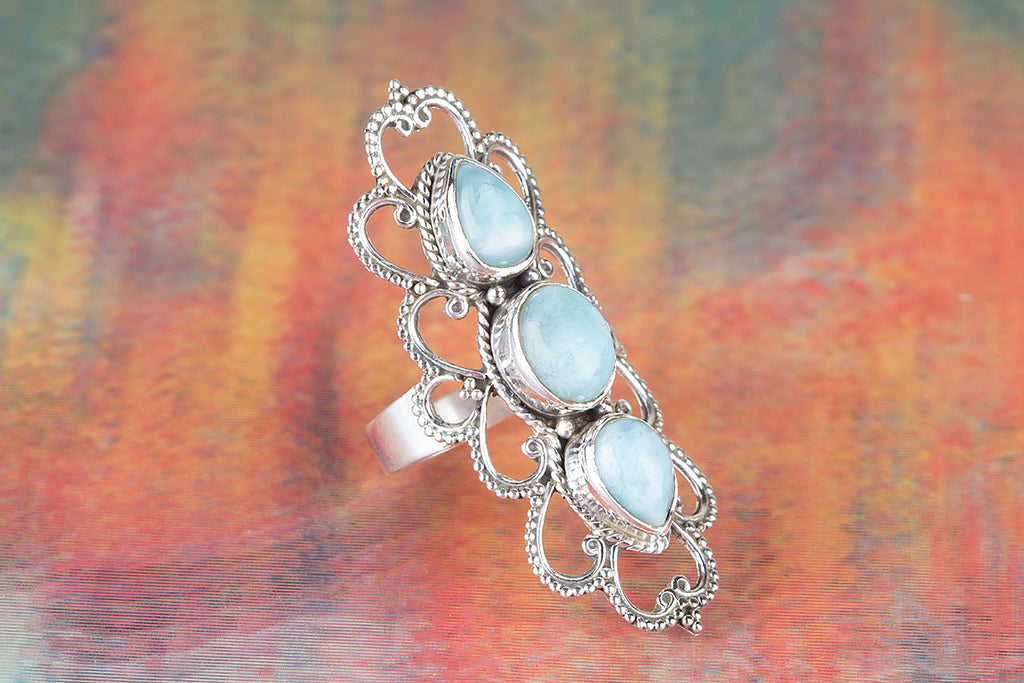 Larimar Gemstone 925 Silver Ring