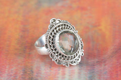 Faceted Green Amethyst Gemstone 925 Silver Ring