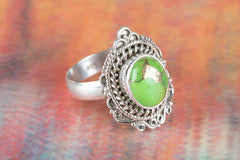 Green Turquoise Gemstone 925 Silver Ring
