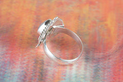 Faceted Rose Quartz Gemstone 925 Silver Ring