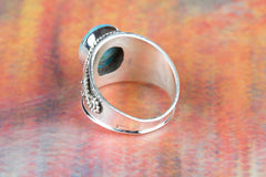 Blue Copper Turquoise Gemstone 925 Silver Ring