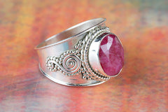 Ruby Gemstone 925 Silver Ring