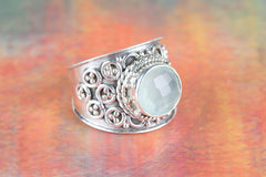 Faceted Aqua Chalcedony Gemstone 925 Silver Ring