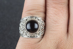Faceted Black Onyx Gemstone 925 Silver Ring