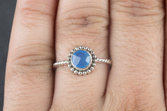 Faceted Blue Chalcedony Gemstone 925 Silver Ring