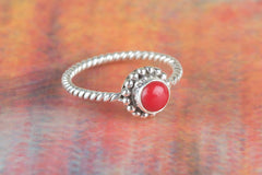 Coral Gemstone 925 Silver Ring