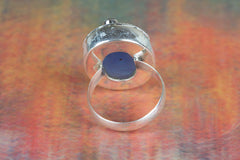 Face Shapr Blue Chalcedony & Amethyst Gemstone 925 Silver Ring