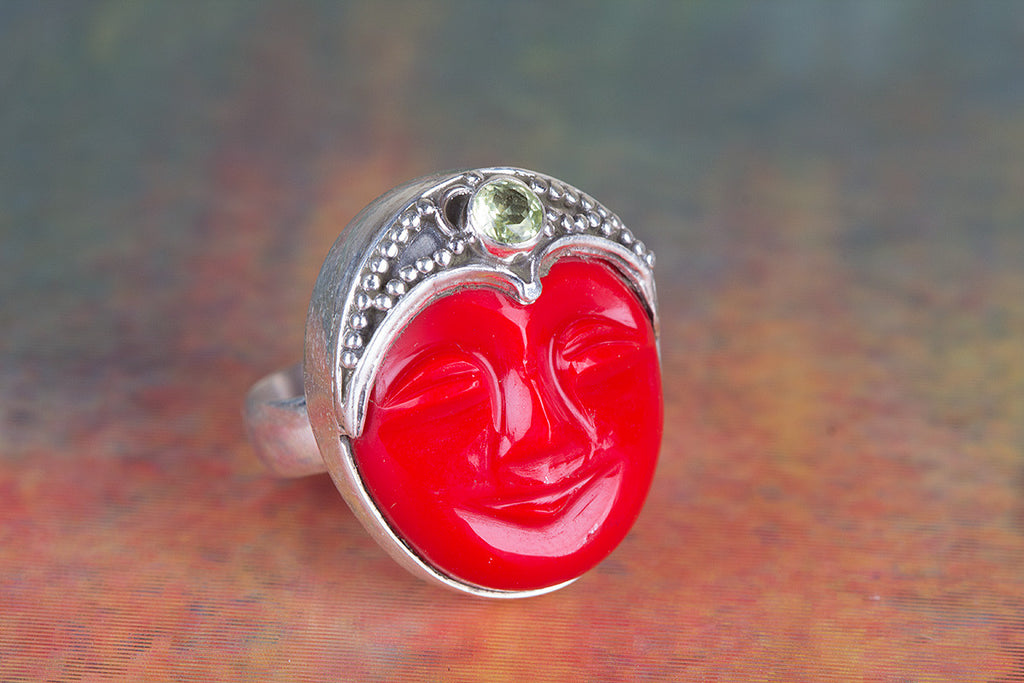 Face Shapr Coral & Peridot Gemstone 925 Silver Ring