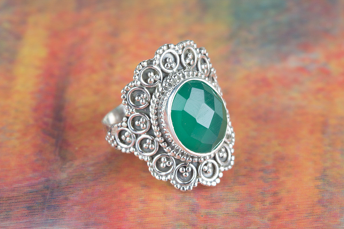 Faceted Green Onyx Gemstone Silver Ring