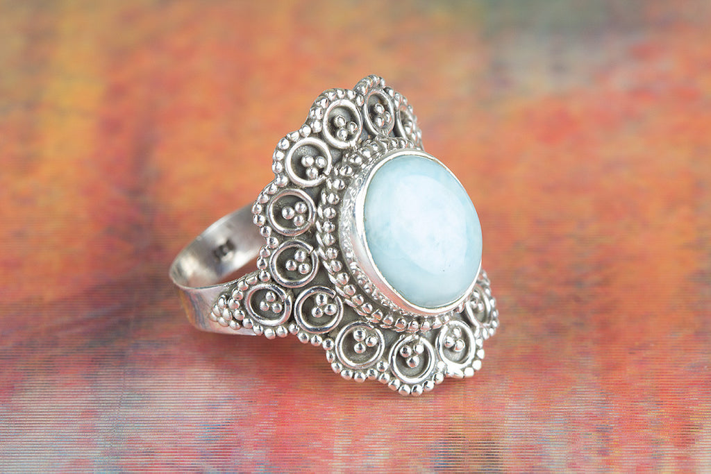 Wow Larimar Gemstone Silver Ring