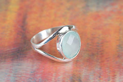 Precious Faceted Aqua Chalcedony Gemstone Silver Ring