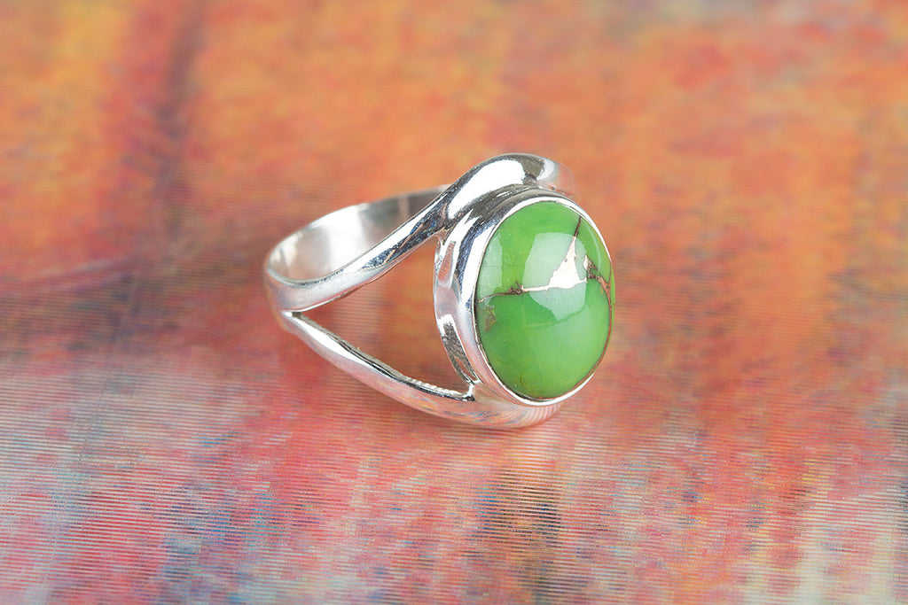 Precious Green Turquoise Gemstone Silver Ring