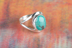 Precious Natural Turquoise Gemstone Silver Ring