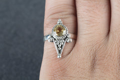 Awesome 925 Silver Faceted Citrine Gemstone Ring