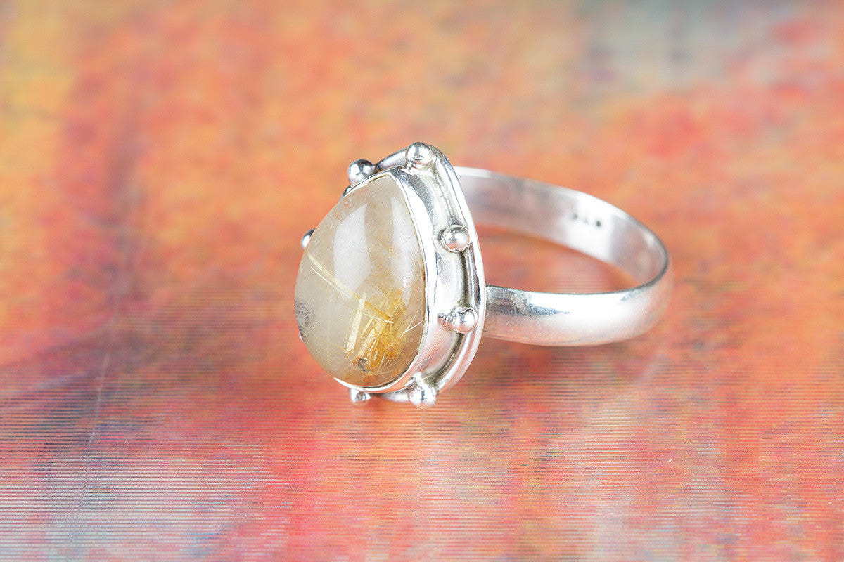 Amazing Golden Rutile Gemstone Sterling Silver Ring