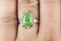 Stunning Green Turquoise Gemstone Sterling Silver Ring