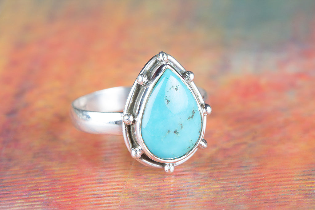 Stunning Natural Turquoise Gemstone Sterling Silver Ring