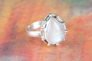 Rainbow Moonstone Ring-Moonstone Silver Ring-Stacking Ring-Solitaire Ring-Pear Shape Ring-June Birthstone Ring-Moonstone Wedding Ring
