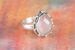 Beautiful Faceted Rose Quartz Gemstone Sterling Silver Ring