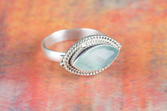 Amazing 925 Faceted Aqua Chalcedony Gemstone Silver Ring