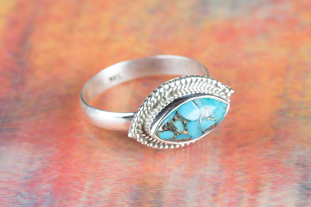 Amazing 925 Blue Copper Turquoise Gemstone Silver Ring
